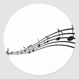 music note classic round sticker