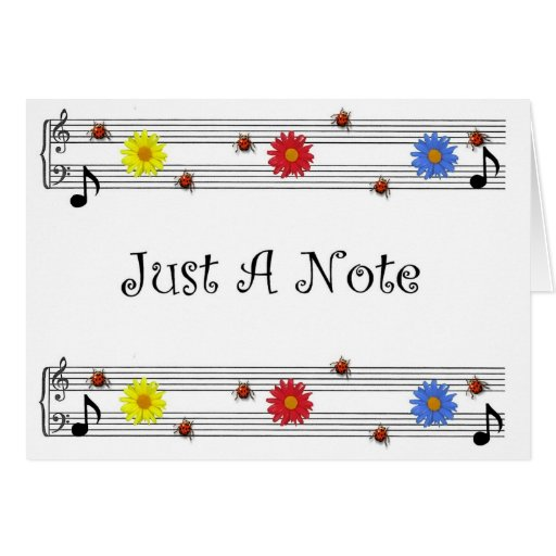 music note thinking of you card large print