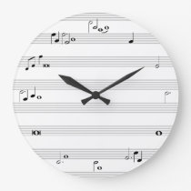 Music note time clock - black and white
