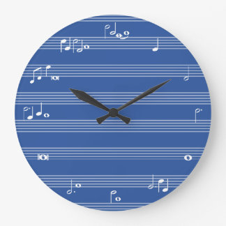 Music note time clock - Blue and white