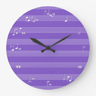 Music note time clock - purple
