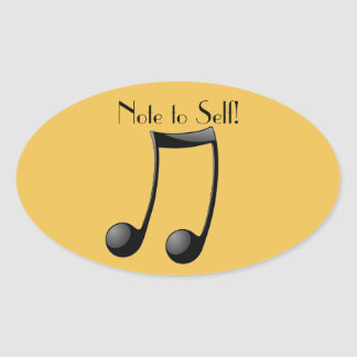Music Note to Self Oval Sticker