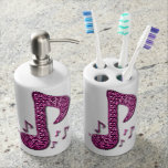 Music Note Toothbrush Holder & Soap Dispenser Set