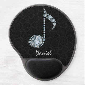 Music Note White Diamonds Over Black Gel Mouse Pad