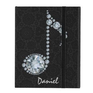 Music Note White Diamonds Over Black iPad Cases