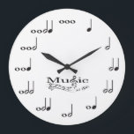 "Music Note with Music is Life saying Large Clock<br><div class=""desc"">Personalized music note wall clock.  Each note represents a beat in numerical value.  Add your name to customize the clock and make it unique!  White background.  Music is Life. Custom color request accepted.  Click the contact link below.</div>"