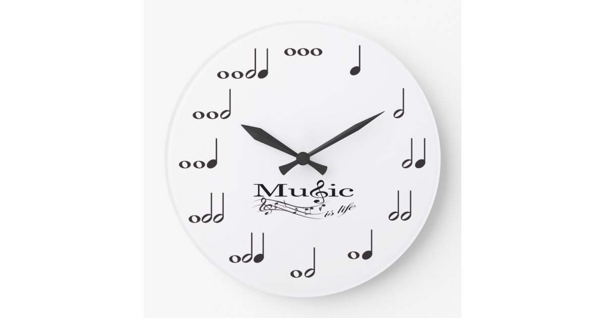 Music Note with Music is Life saying Large Clock | Zazzle.com