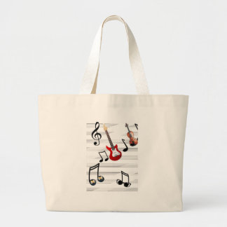 Music Notes allegory Large Tote Bag