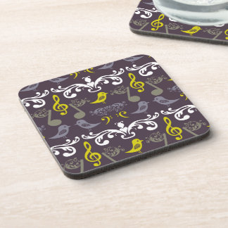 Music Notes and Birds Beverage Coaster