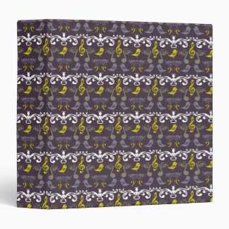 Music Notes and Birds 3 Ring Binder