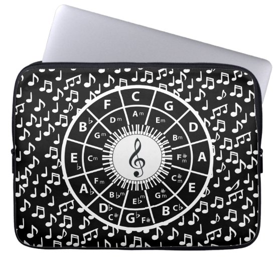 Music notes and circle of fifths design computer sleeve