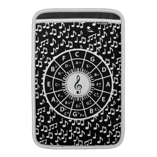 Music notes and circle of fifths design MacBook sleeve