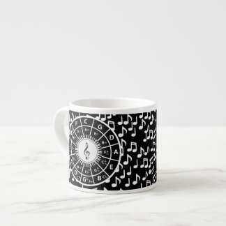 Music notes and circle of fifths espresso cup