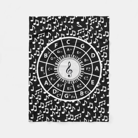 Music notes and circle of fifths fleece blanket