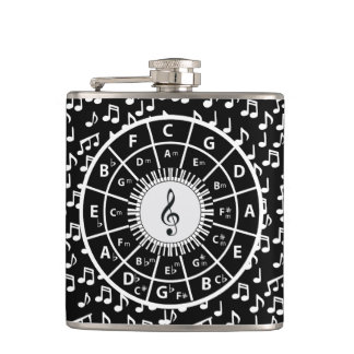 Music notes and circle of fifths hip flask