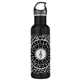 Music notes and circle of fifths stainless steel water bottle