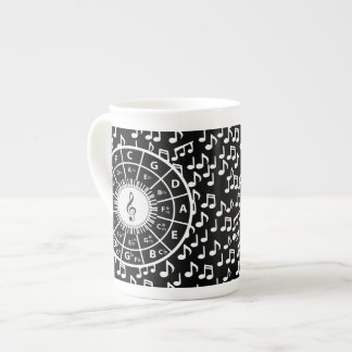 Music notes and circle of fifths tea cup