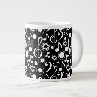 Music Notes and Clefs - White on Black Large Coffee Mug