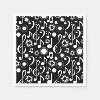 Music Notes and Clefs - White on Black Napkin
