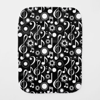 Music Notes and Clefs - White on Black Baby Burp Cloth