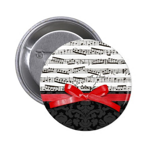 Music notes and faux red ribbon 2 inch round button