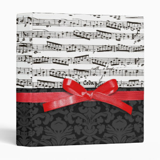 Music notes and faux red ribbon 3 ring binder