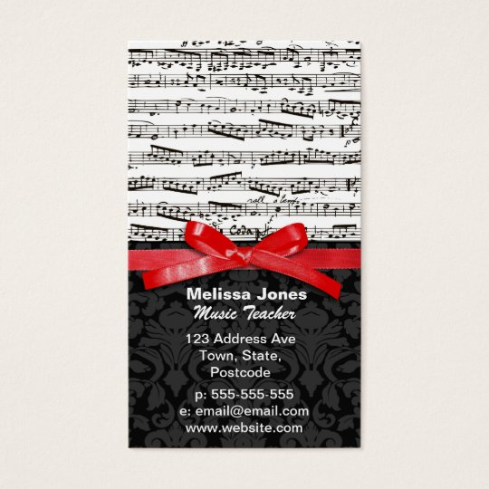 Music notes and faux red ribbon business card