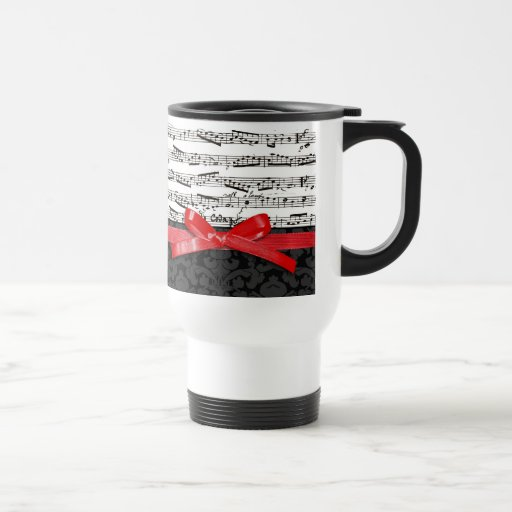 Music notes and faux red ribbon coffee mugs