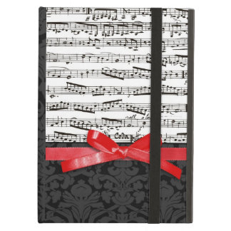 Music notes and faux red ribbon iPad folio case