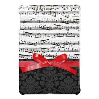 Music notes and faux red ribbon iPad mini cover