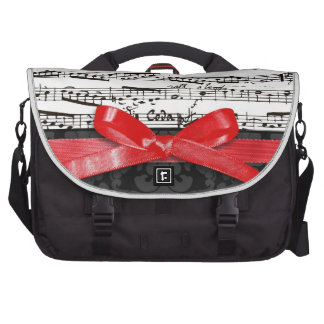 Music notes and faux red ribbon commuter bag