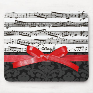 Music notes and faux red ribbon mouse pad