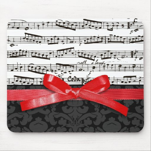 Music notes and faux red ribbon mouse pads