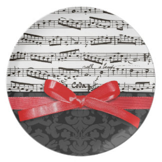 Music notes and faux red ribbon dinner plate