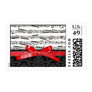 Music notes and faux red ribbon postage