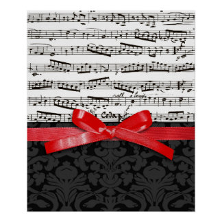 Music notes and faux red ribbon posters