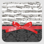 Music notes and faux red ribbon square sticker