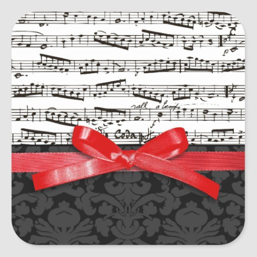 Music notes and faux red ribbon sticker