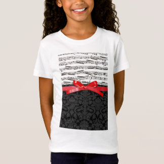 Music notes and faux red ribbon T-Shirt