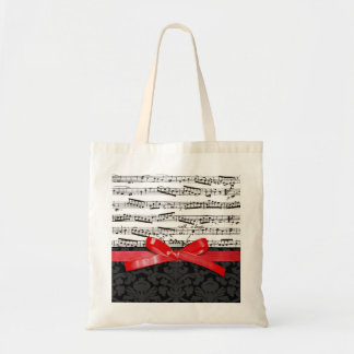 Music notes and faux red ribbon tote bag