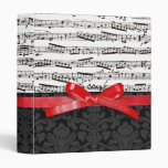 Music notes and faux red ribbon vinyl binders