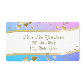 Music Notes and Gold Hearts Label