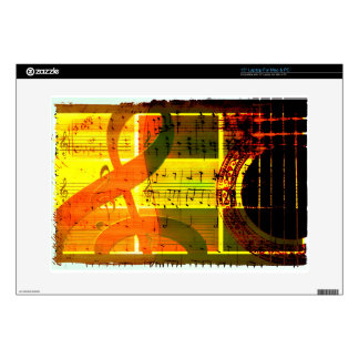 "Music Notes and Guitar 15"" Laptop Skin"