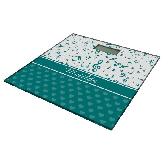 Music Notes and Hearts Pattern Teal and White Bathroom Scale
