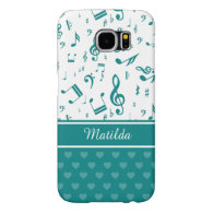 Music Notes and Hearts Pattern Teal and White Samsung Galaxy S6 Cases