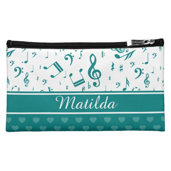 Music Notes and Hearts Pattern Teal and White Cosmetic Bag