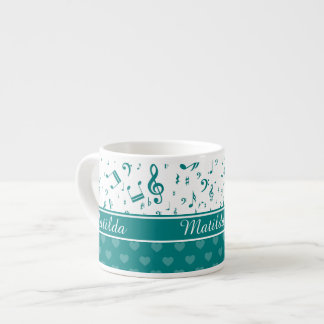 Music Notes and Hearts Pattern Teal and White Espresso Cup