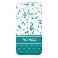 Music Notes and Hearts Pattern Teal and White iPhone 7 Case