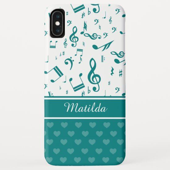 Music Notes and Hearts Pattern Teal and White iPhone XS Max Case
