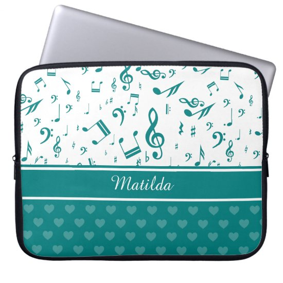 Music Notes and Hearts Pattern Teal and White Laptop Sleeve